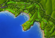 Maps Painting Prints - Pebble Beach Golf Links  Print by Robin Moline