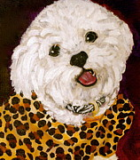 Puppies Paintings - Pebbles by Debi Pople