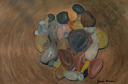 Wooden Bowl Paintings - Pebbles in a wooden bowl by Jolanta Benson