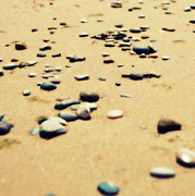 Grey Clouds Prints - Pebbles on the Beach Print by Michelle Calkins