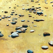 Peaceful Scene Paintings - Pebbles on the Beach - Oil by Michelle Calkins