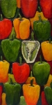 Green Reliefs Posters - Peck of Peppers Poster by Linda Carmel