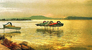 Travel Destinations Paintings - Pedal boats in a beautiful Balaton lake by Odon Czintos