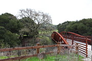 Oak Creek Posters - Pedestrian Bridge Fernandez Ranch California - 5D21033 Poster by Wingsdomain Art and Photography