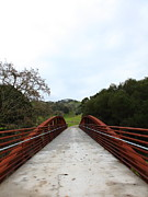Oak Creek Posters - Pedestrian Bridge Fernandez Ranch California - 5D21035 Poster by Wingsdomain Art and Photography