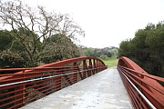 Oak Creek Posters - Pedestrian Bridge Fernandez Ranch California - 5D21038 Poster by Wingsdomain Art and Photography