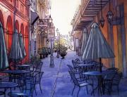 Garden Scene Drawings Metal Prints - Pedestrian Mall  212 Metal Print by John Boles