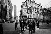 Manhatan Photo Prints - Pedestrians Cross Crosswalk Crossing Of 6th Avenue Broadway And 34th Street At Macys New York Usa Print by Joe Fox