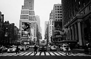 Manhaten Prints - Pedestrians Crossing Cross Walk Between Pennsylvania Hotel And Penn Station On 7th Avenue New York Print by Joe Fox
