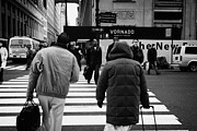 Manhatten Posters - Pedestrians Crossing Crosswalk Carrying Luggage On Seventh 7th Ave Avenue Poster by Joe Fox