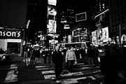 New York City Wandering Framed Prints - Pedestrians Crossing Crosswalk In Times Square In Nighttime New York City Framed Print by Joe Fox