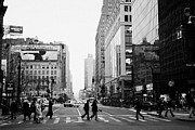 Manhatan Photo Prints - Pedestrians crossing crosswalk on west 34th street and sixth 6th avenue at herald square new york Print by Joe Fox