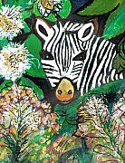 Stripes Mixed Media - Peek-A-Boo Zebra by Anne-Elizabeth Whiteway