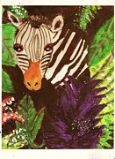 Anne-elizabeth Whiteway Prints - Peek-a-Boo Zebra with Sparkles Print by Anne-Elizabeth Whiteway