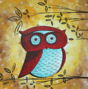 Contemporary Bird Painting Acrylic Prints - Peekaboo by MADART Acrylic Print by Megan Duncanson