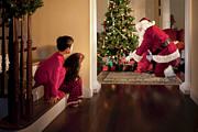 Toys Prints - Peeking at Santa Print by Diane Diederich