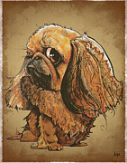 Pekingese Framed Prints - Peeking Pekingese Framed Print by Canine Caricatures By John LaFree