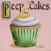 Easter Paintings - Peep Cakes by Catherine Holman