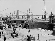 Brooklyn Bridge Prints - Peer 16  Brooklyn Bridge 1900 Print by Stefan Kuhn