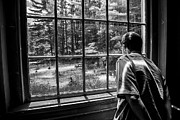 Karol  Livote - Peering Out The Window BW