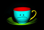 Fed Posters - Peeved Colorful Cup and Saucer Poster by Natalie Kinnear