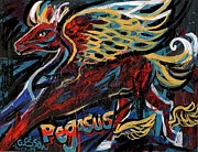 Yellow Ochre Prints - Pegasus Print by Genevieve Esson
