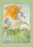 Greek Temple Posters - Pegasus Poster by Lynn Bywaters