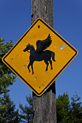 Myth Framed Prints - Pegasus road sign Framed Print by Garry Gay