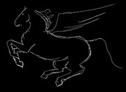 Fairy Tale Witch Metal Prints - Pegasus Sketch Reversed Metal Print by J M L Patty