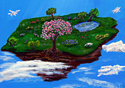 Fantasy Tree Art Paintings - Pegasus Sky Garden by Gloria Koch