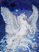 Celestial Drawings Prints - Pegasus Unicorn Print by Sheila Tibbs
