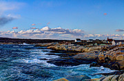 Sunset Seascape Pyrography Prints - Peggys Cove by the Sea Print by Eric Lortie