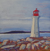 Lighthouse Pastels - Peggys Cove Lighthouse by Rae  Smith PSC