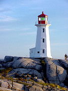 Zelma Hensel Posters - Peggys Cove Lighthouse Poster by Zelma Hensel