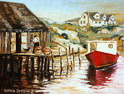 Ogonquit Paintings - Peggys Cove Nova Scotia Fishing Village With Red Boat by Carole Spandau