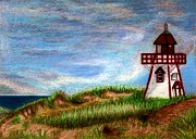 Sand Dunes Drawings Prints - PEI Lighthouse Print by Jo Prevost