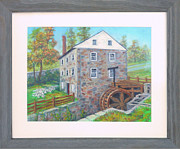 Landmarks Pastels Originals - Peirce Mill in October along Rock Creek in Washington DC by Nancy Heindl