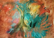 Original Abstract Paintings - Pelea de Gallo by Pg Reproductions