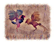 Watercolor Roosters Framed Prints - Pelea de Gallos Framed Print by Yiries Saad