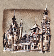Romania Drawings - Peles Castle Romania Drawing by Daliana Pacuraru