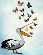Bird Print Posters - Pelican and Butterflies Poster by Kelly McLaughlan