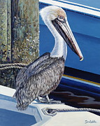 Docked Boats Painting Posters - Pelican Blues Poster by Danielle  Perry