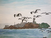 Alcatraz Painting Prints - Pelican Escape from Alcatraz Print by Donald William