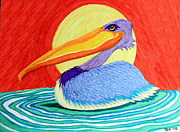 Pelican Drawings Metal Prints - Pelican in the Sun  Metal Print by Nick Gustafson