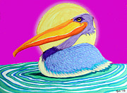 Pelican Drawings Metal Prints - Pelican on the Water 2 Metal Print by Nick Gustafson