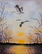 Lake Tapestries - Textiles Originals - Pelican Sunset by Blanch Paulin