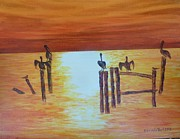 Pelican Painting Originals - Pelican Sunset by Brenda  Bell