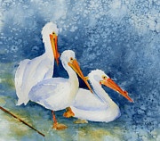 Sienna Paintings - Pelicans At The Weir by Pat Katz