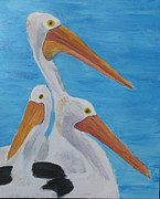 Sea Birds Paintings - Pelicans by Dawn Dreibus