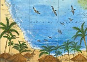 Chart Paintings - Pelicans Polapas Nautical Chart Map Art Cathy Peek by Cathy Peek